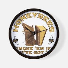Honeybees Smoke Em Wall Clock