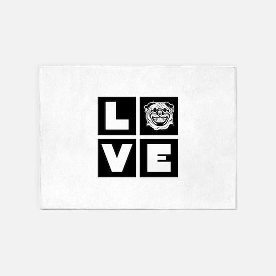Love Pugs 5'x7'Area Rug