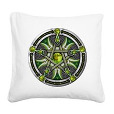Green Moon Pentacle Square Canvas Pillow