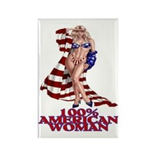100% AMERICAN WOMAN Rectangle Magnet