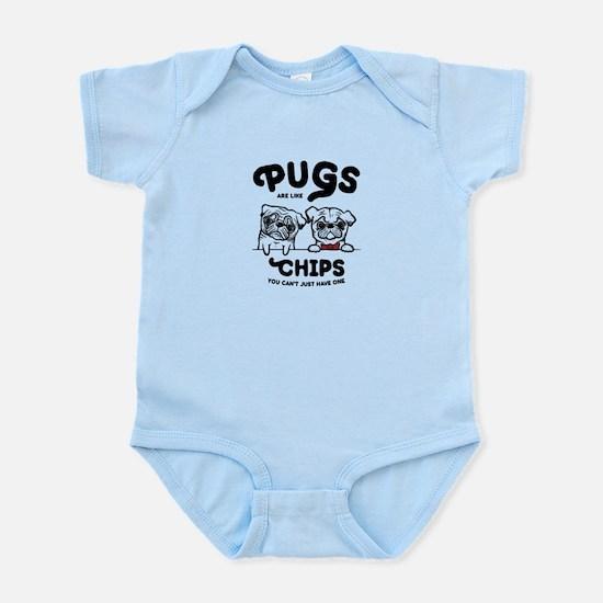 Pug Chips Baby Light Bodysuit