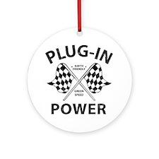 Vintage Hybrid Car Plug In Power Round Ornament