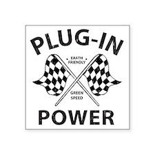 "Vintage Hybrid Car Plug In  Square Sticker 3"" x 3"""