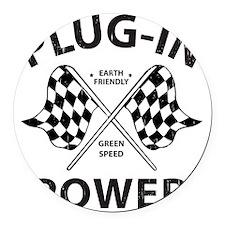 Vintage Hybrid Car Plug In Power Round Car Magnet