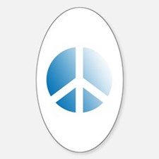Pale Blue Stamped Peace Sign Oval Decal