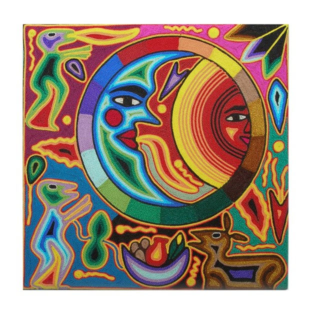 Mexican_String_Art_Image_Sun_Moon_78_ Tile Coaster By
