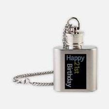 21 birthday blue green Flask Necklace