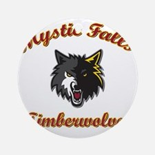 MFTimberwolves WhtBlk Round Ornament