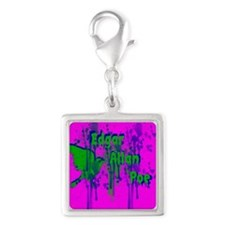 Edgar hot pink Silver Square Charm