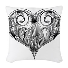 woodcut flower Woven Throw Pillow