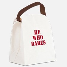 he_who_dares_white Canvas Lunch Bag