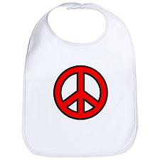 Bright Red Peace Symbol Bib