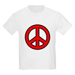Bright Red Peace Symbol Kids T-Shirt