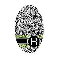 441_damask_monogram_R2 Oval Car Magnet