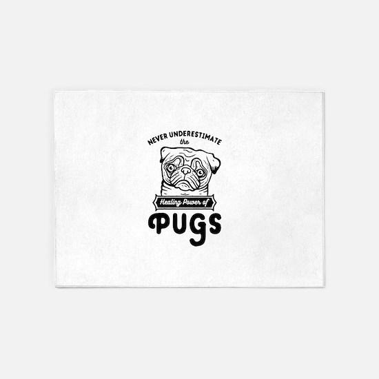 Healer Pugs 5'x7'Area Rug
