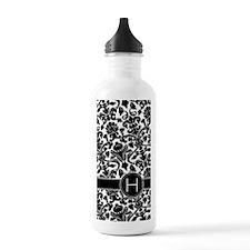 441_damask_monogram_H Water Bottle