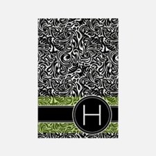 441_damask_monogram_H2 Rectangle Magnet