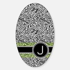 441_damask_monogram_J2 Sticker (Oval)