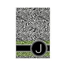441_damask_monogram_J2 Rectangle Magnet