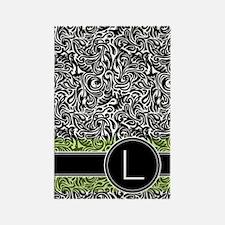 441_damask_monogram_L2 Rectangle Magnet