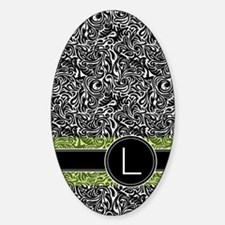 441_damask_monogram_L2 Sticker (Oval)