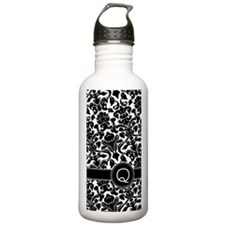 441_damask_monogram_Q Water Bottle