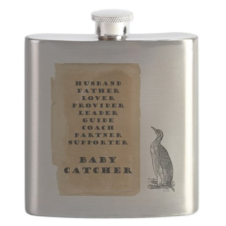 Penguin father 9x9 Flask