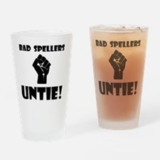 Bad Spellers Black Drinking Glass