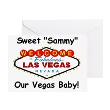 ss red lv sign vegas baby comic sand Greeting Card