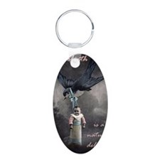 bird delivery 5x8 Aluminum Oval Keychain
