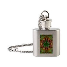 marijuana-mandala-final -sm Flask Necklace