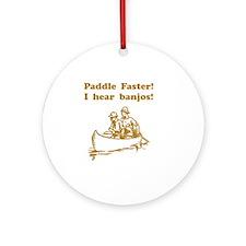 Hear Banjos Brown Round Ornament