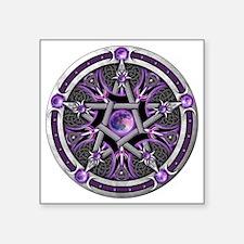 "Purple Moon Pentacle Square Sticker 3"" x 3"""