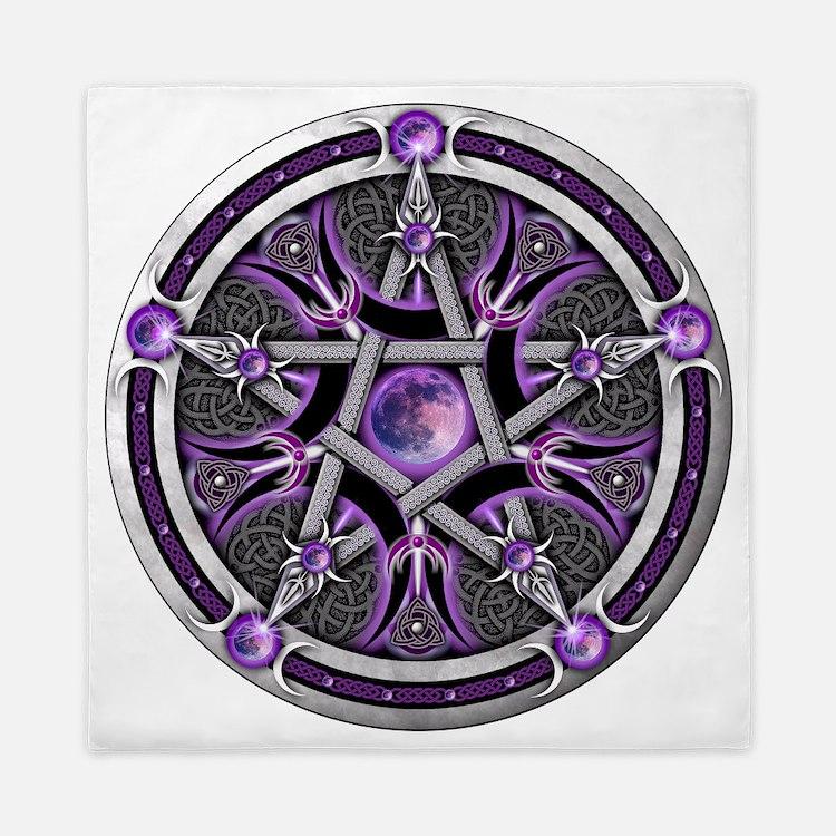 Purple Moon Pentacle Queen Duvet. Wiccan Bedding   Wiccan Duvet Covers  Pillow Cases   More