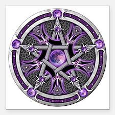 "Purple Moon Pentacle Square Car Magnet 3"" x 3"""