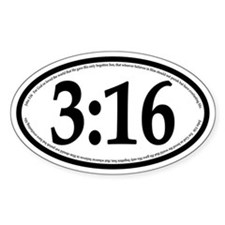 John 3:16 Oval Car Decal
