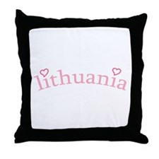 """Lithuania with Hearts"" Throw Pillow"