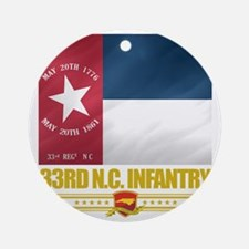 33rd NC Infantry (Flag 10) Round Ornament