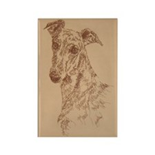 Greyhound_Fawn_KlineX Rectangle Magnet
