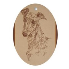 Greyhound_Fawn_KlineX Oval Ornament
