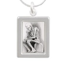 Day of the Dead Thinker Silver Portrait Necklace