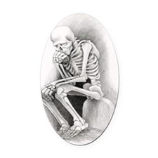Day of the Dead Thinker Oval Car Magnet