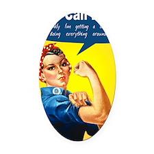 RosieRiveterMom Oval Car Magnet