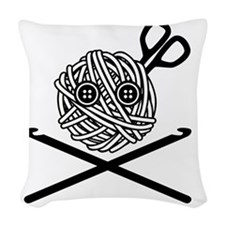 PirateCrochet06_black Woven Throw Pillow