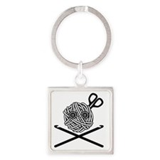 PirateCrochet06_black Square Keychain