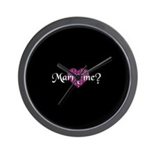 Marry Me? - Fuchsia Heart Wall Clock