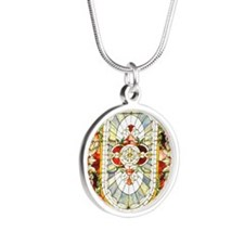 Regal_Splendor_Stained_Glass Silver Round Necklace