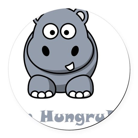 Hungry Hippo Grey Round Car Magnet