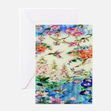 HUMMINGBIRD_STAINED_GLASS_16 20 Smal Greeting Card