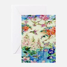HUMMINGBIRD_STAINED_GLASS_23 35 Larg Greeting Card